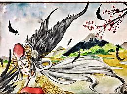 阴阳师手游 姑获鸟水彩 附带一只夜叉