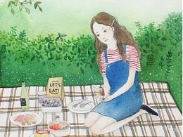 picnic 水彩过程图