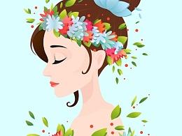 鲜花与少女