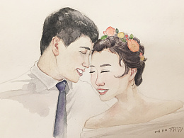 水彩初中同学婚纱照