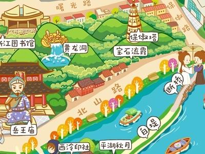 q版卡通杭州手绘旅游攻略地图图片