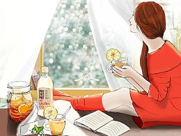 手绘:三八节-女人季-电商调味品食品首页设计
