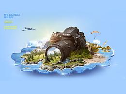 给我强大的相机P张歪果仁创意海报