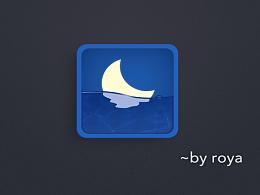 扁平写实图标、月亮、蓝色质感图标