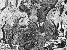 黑白绘-- 松鸦2015年插画合集