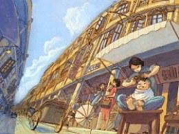 汕头老城区街景插画
