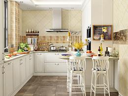 """苏州-""""运河水岸""""别墅区客户简欧厨房设计,欧式橱柜设计,家具3D设计"""