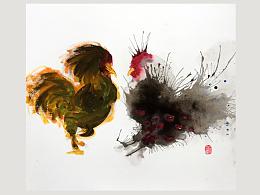 石思庆手绘···炸毛的鸡