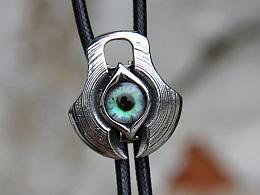原创设计 未来感不锈钢时空眼波洛领带bolo tie衬衣项链绳领带