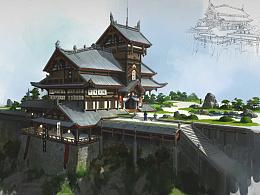 艺数绘讲师洛克猴(杜震)中国风建筑课堂范画