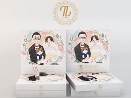 给朋友画的婚礼伴手礼插画及包装