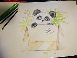 带着儿子学画萌萌熊猫仔