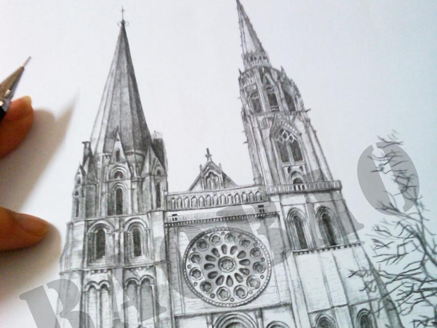 手绘教堂纹身图
