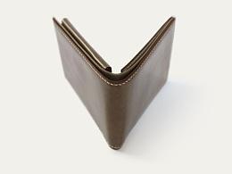 KOUTEN纯手工设计/军绿色意大利进口油蜡小牛皮短钱夹
