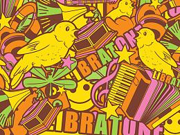 小鸟音响ZIPP外套图案设计