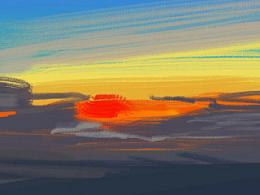 飞机上画的日落过程