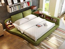 榻榻米布艺床3D设计 家具3D效果制作