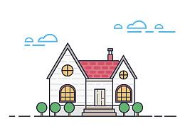 小房子描边插画