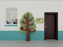 小学走廊书架设计
