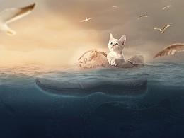 小猫海报,合成海报,创意海报,海报设计,圣诞环游