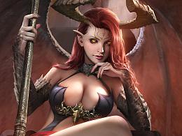 为游戏《英雄时代Age of Heroes》创作的海报和角色立绘