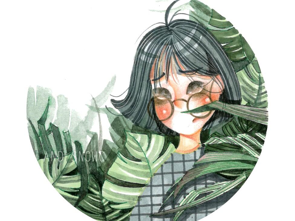 马克笔水彩彩铅手绘人物插画