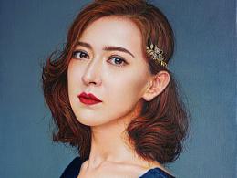 给央视主持人尼格买提夫人paxa画的油画肖像