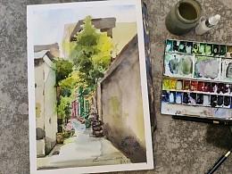 城市速写-广州番禺-市桥前进路 水彩写生