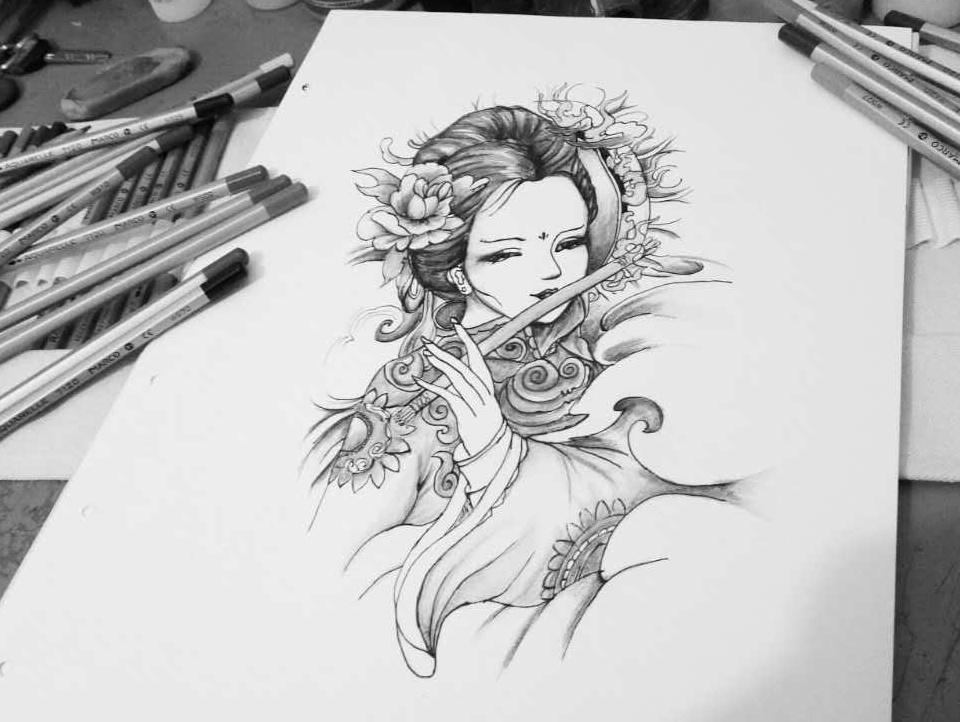 艺伎小臂纹身图分享展示图片