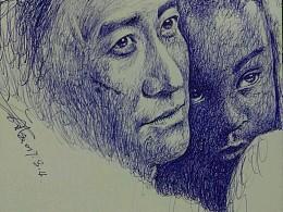 为最近很火的《战狼2》速涂一张圆珠笔作品