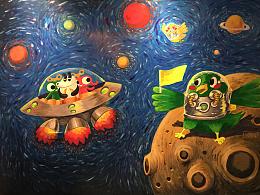 两组手绘墙画or黑板画 附上过程