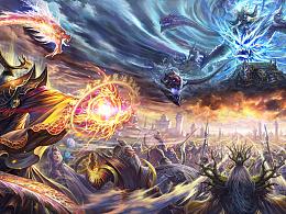 《神魔之战》  绘画过程图