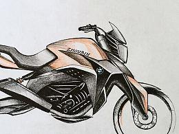 摩托车工业设计手绘