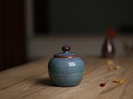 白伟锋 器世界精品钧瓷茶具 钧窑 钧瓷茶叶罐 白伟峰钧瓷作品钧窑茶罐