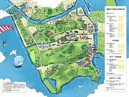 珠海横琴岛.手绘地图城市旅游景区美食地图设计定制