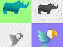 动物LOGO设计 动物图标设计 扁平图标设计 色块图标 扁平logo 渐变logo