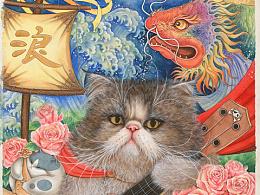 《八仙九猫》水彩插画系列