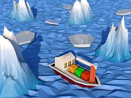 C4D练习-冰山运输船