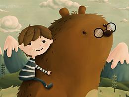 Me and bear儿童插画习作