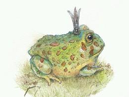 试着用水粉颜料练习个青蛙呱,哈哈哈,但画法还是水彩的画法