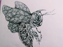 纸雕作品,针管笔黑白线稿