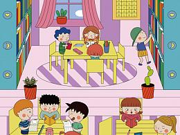 儿童插画-图书馆