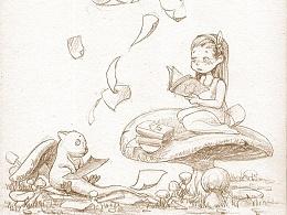 蘑菇森林系列——小书虫