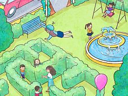 儿童慈善基金插画长图gif 爱佑未来 隐身少女Alice