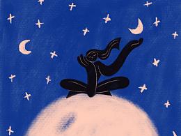 女孩子和月亮之间有很多秘密