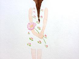 女孩背影 水彩插画