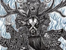 《霸王麋鹿》纸本手绘过程