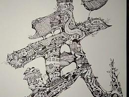 武汉大学,中秋主题字绘图案设计