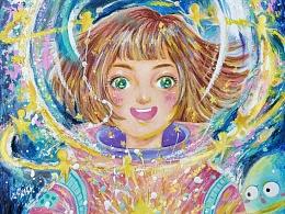 天奇的油画棒插画|邮光集之星梦