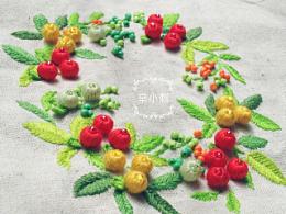 辛小刺原创浆果子花环立体刺绣